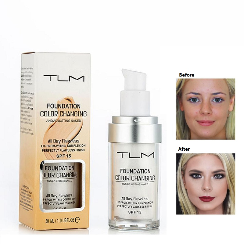 30ml TLM Flawless Color Changing Foundation Liquid Base Makeup Change To Your Skin Tone By Just Blending30ml TLM Flawless Color Changing Foundation Liquid Base Makeup Change To Your Skin Tone By Just Blending