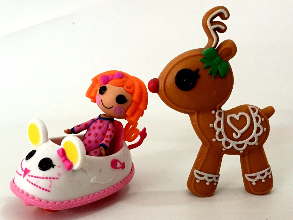 1 set of Original 7cm MGA Lalaloopsy Dolls Mini lovely Dolls Christmas elk mouse car For Girl's Toy gift