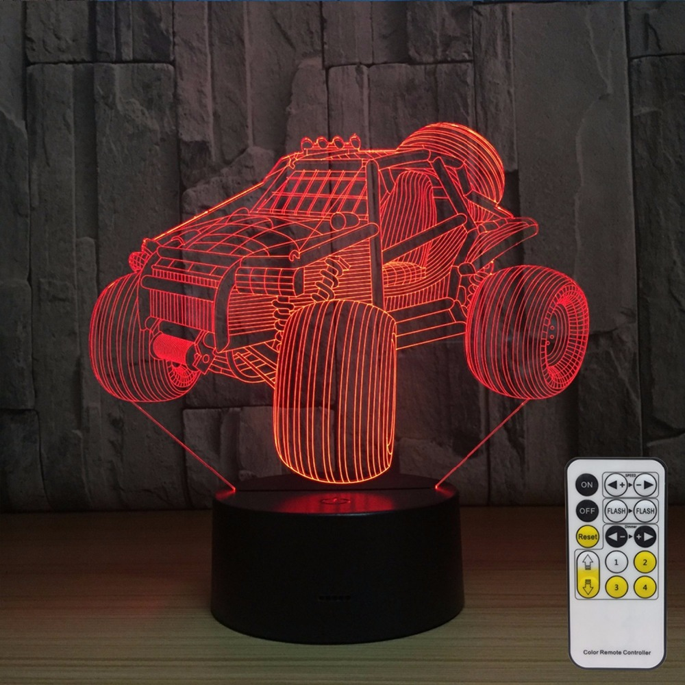 Off-Road Vehicle Decoration 7 Colors Change with Remote Baby Night Light Beside Lamp Children's Lights As a Birthday Party Gift