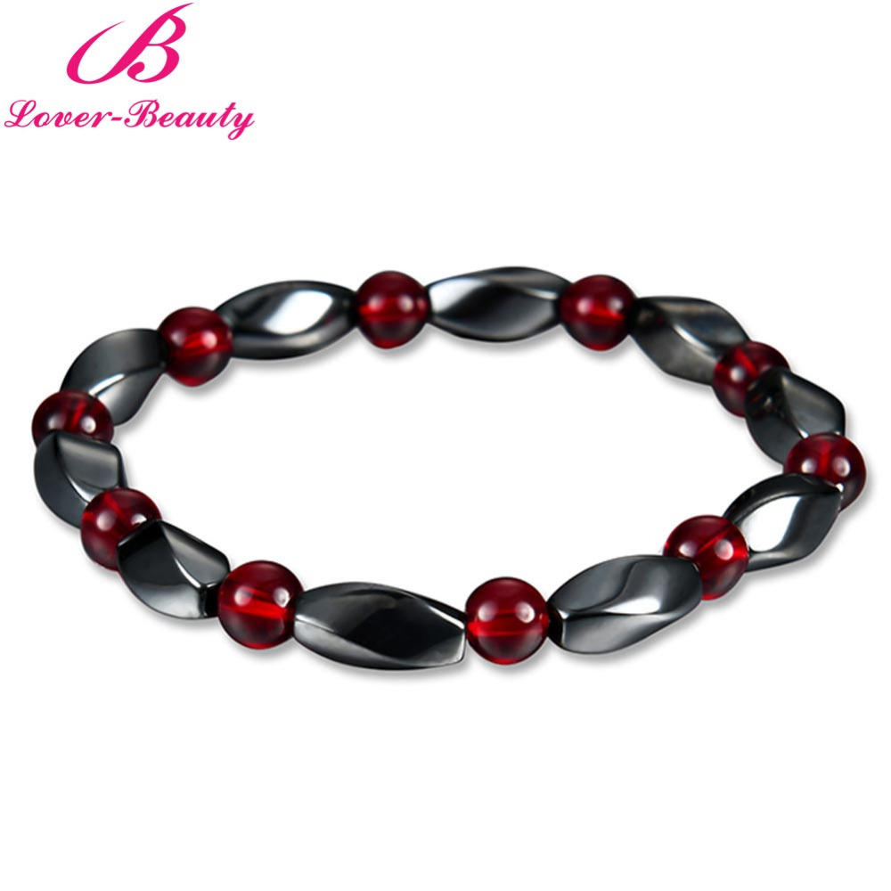 Lover font b Beauty b font Weight Loss Round Black Stone Magnet Bracelet Luxury Magnetic Therapy