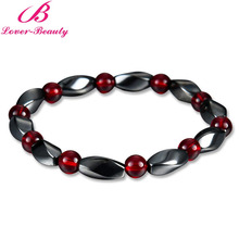 Lover Beauty Weight Loss Round Black Stone Magnet Bracelet Luxury Magnetic Therapy Health Care Bangles -E