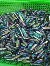 10PCQuartz Punto di Cristallo Arcobaleno Titanio Trattato Al Quarzo Bacchetta Acqua Aura Di Cristallo di Quarzo Point Presente Regalo Jewerly