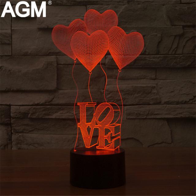 Estilo encantador Coração USB 3D Tabela Night Light Toque Remoto Noite de Sono Lâmpada de controle Visual Para O Amante do Dia Dos Namorados Aniversário presente