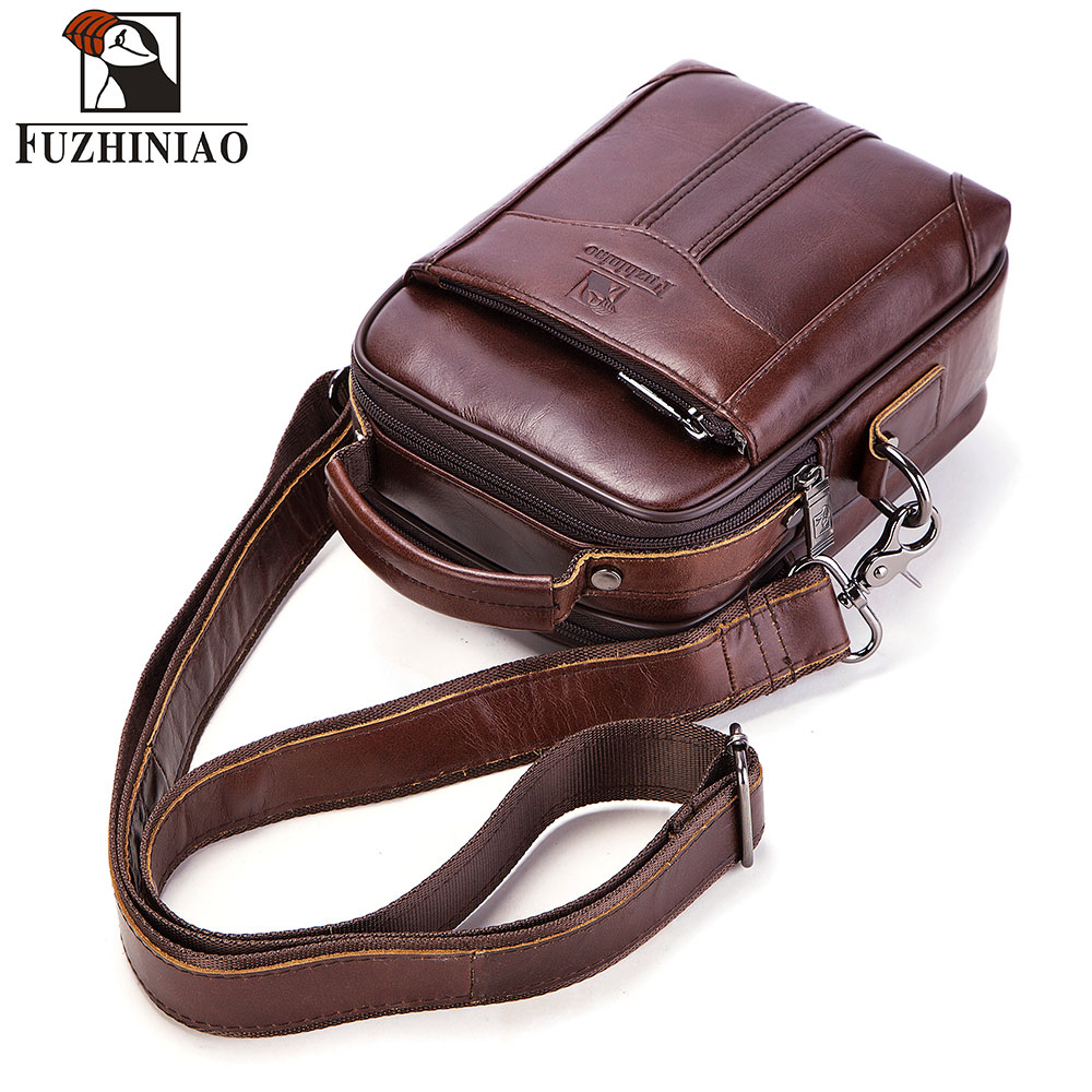 FUZHINIAO 100 Genuine Leather Messenger Bag Men Shoulder Clutch Male Crossbody Bag Tas Sling Tote Travel