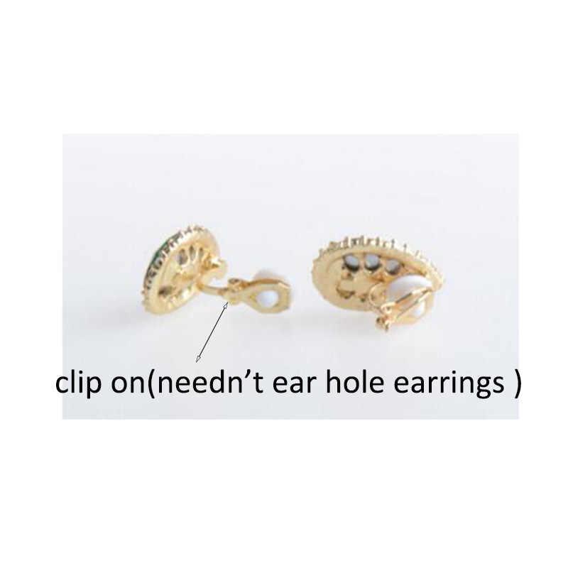 Top qualité autriche cristal strass goutte d'eau forme Clip sur boucles d'oreilles Non Piercing charme mariée oreille boucle boucles d'oreilles Bijoux