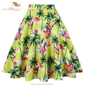 Image 2 - SISHION Vintage Skirts Womens VD0020 jupe femme 2020 High Waist Cotton Swing Retro Women Skirt Black Plaid faldas Summer Skirt