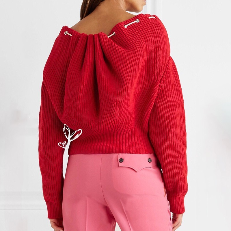 TWOTWINSTYLE Draw String Sweater Women Batwing Sleeve Knitted Pullover Tops Female Oversize Fashion Casual Clothes 2018 Autumn 33