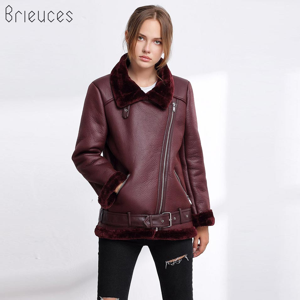 Brieuces 2018 PU   Leather   Winter Jacket Women Warm Faux Fur Inside Collar Coat Fashion Moto Oversized Zipper Pocket Sashes Jacket