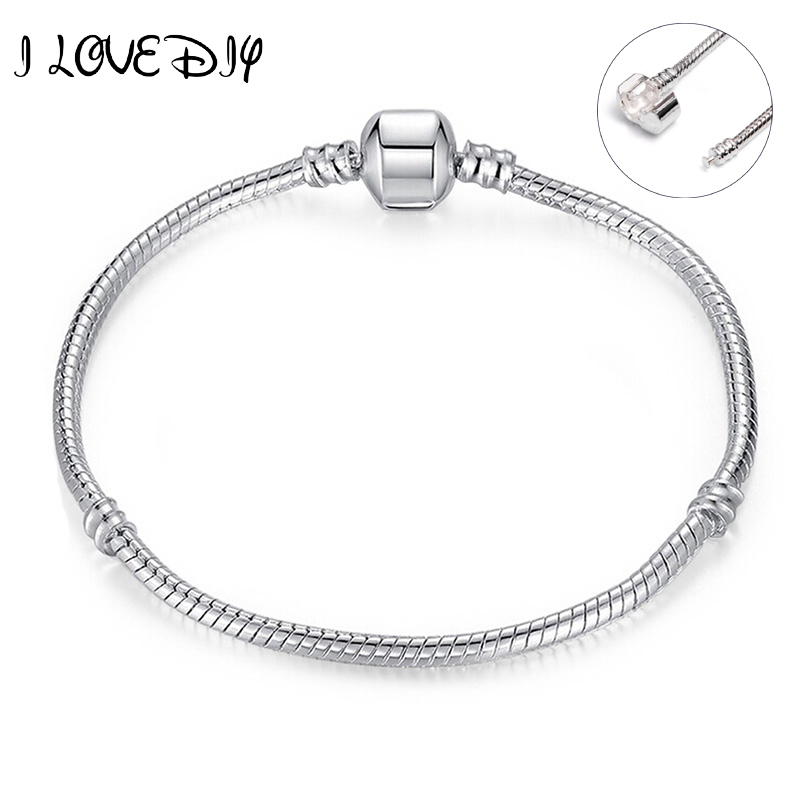 Fashion 100% New Silver Plated Starter Master Bracelets Snake Chain Bracelet Fit Bracelet & Bangle 16CM-21CM Pulseras