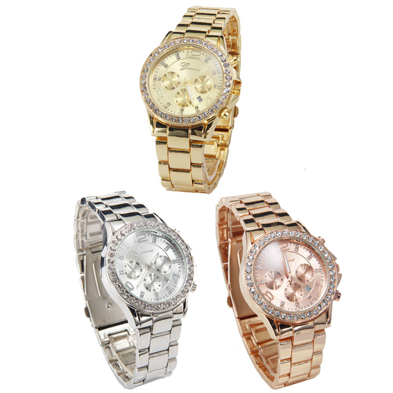 Date Quartz Wrist Watch Female Luxury Crystal Lady Ladies Watch  Brand New High Quality Luxury Free Shipping 0717