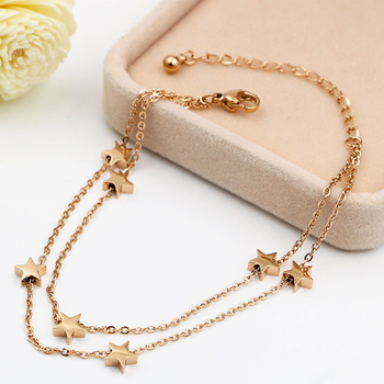Highly Polished Beautiful Double-Layered Chain And Star Anklet Top Quality Titanium Steel Jewelry Woman Child Best Gift 3
