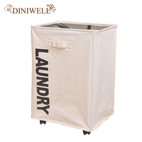 DINIWELL Oxford Laundry Storage Basket With Roller Waterproof Dirty Hamper Collapsible Laundry Organizer For Home Office