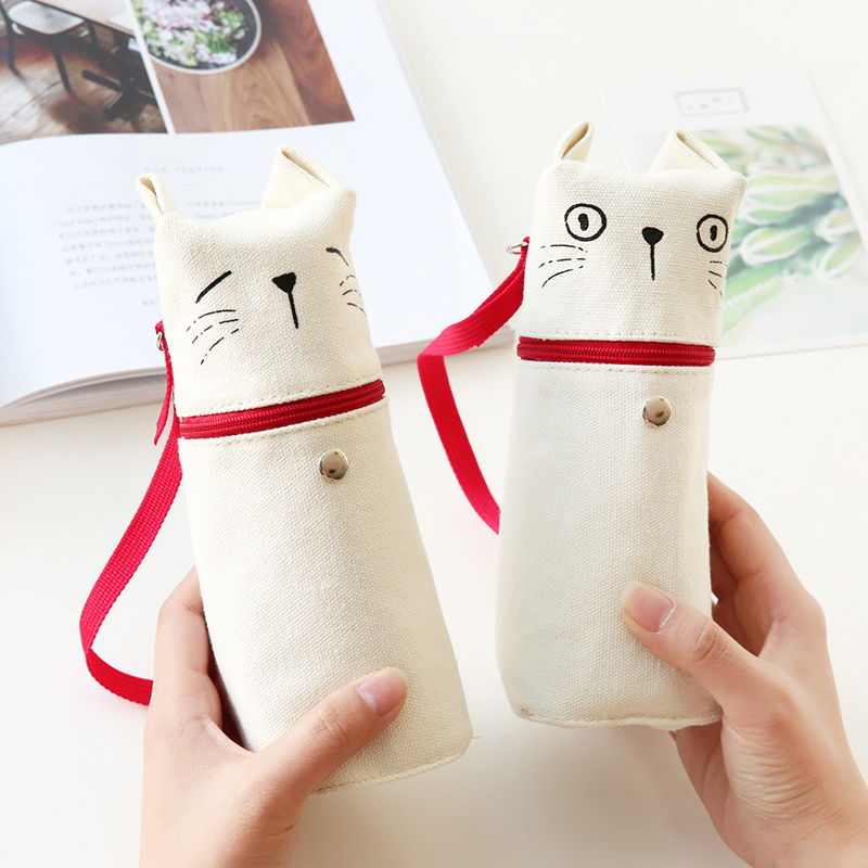 4 pcs/Lot Cute cat pencil bag Lovely expression kitty pen bag case for stationery Office accessories School supplies F504