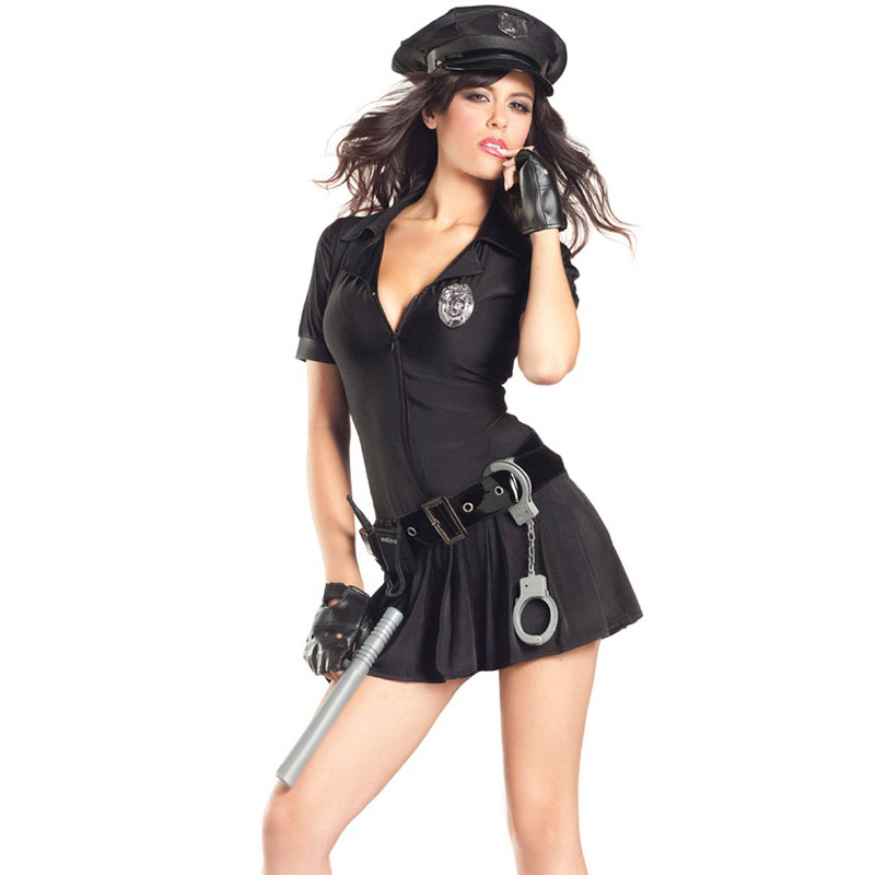 Free shipping Copwoman Costume,New fashion Sexy Costume with sexy police women drop ship