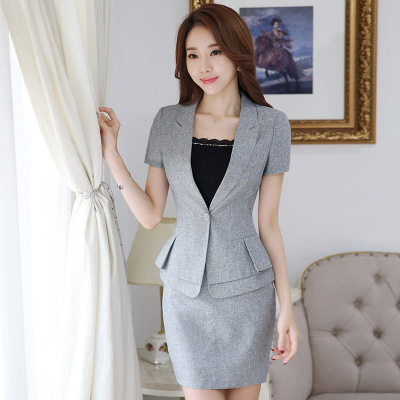 cdd117e45 New Summer Occupation Beautician Hotel Front Desk Overalls Slim Short  Sleeved Set Office Uniform Designs Women-in Skirt Suits from Women's  Clothing & ...