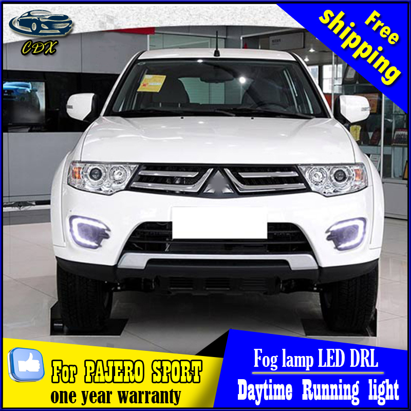 Free Shipping Pair of LED Car Lights DRL Daytime Running Light WithTurn Light For MITSUBISHI Pajero Sport 2013 2014 2015 car drl running lights for mitsubishi pajero 2007 led daytime driving light