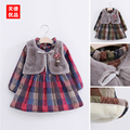 New Girls Thicken Dress Autumn Winter Dress For Kids Warm New Year Costume Fake Two Pieces Baby Girls Vest Dress High Quality