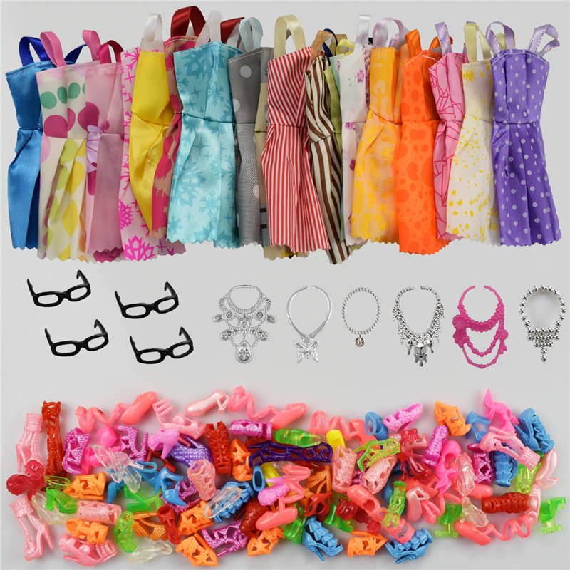 30 Item/Set Accessories=10PCS Mix Sorts Beautiful Barbie Clothes Fashion Dress+6Plastic Necklace+10 Pair Barbie Shoes+4 Glasses