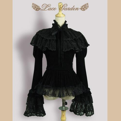 ФОТО Vintage Black Velvet Women's Jacket Long Flare Sleeve Top with Layered Lace Ruffle Cape by Lace Garden