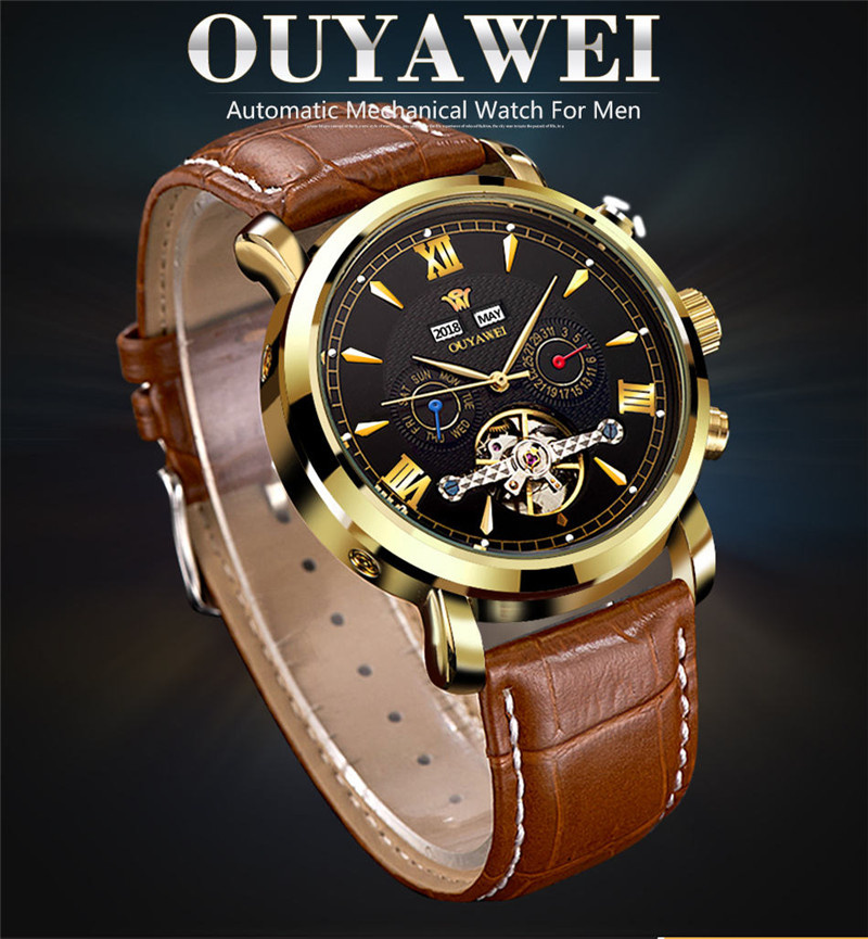 Mechanical Watch Mens Top Men\`s Automatic Mechanical Watches Wristwatch Leather watch relogio masculino (1)