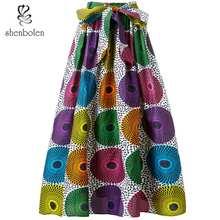 African Clothes for women Fashion Skirt Print High waist long skirt Plus Size cute sunflower print flounce high low skirt for women
