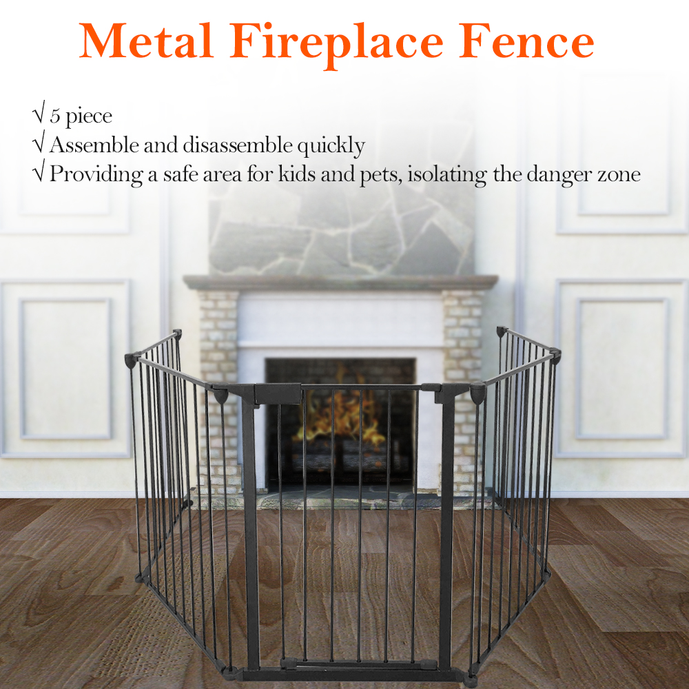 Living Room Fireplace Fence Baby Safety Pet Gate Dog Barrier Enclose Indoor Home