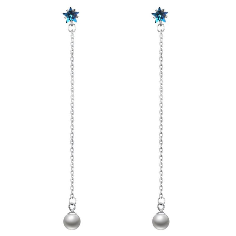 Pure silver Crystal Pearl Star Earrings for Women Girls Long Pearl Pendant Drop Dangle Earring Wedding Party Jewelry