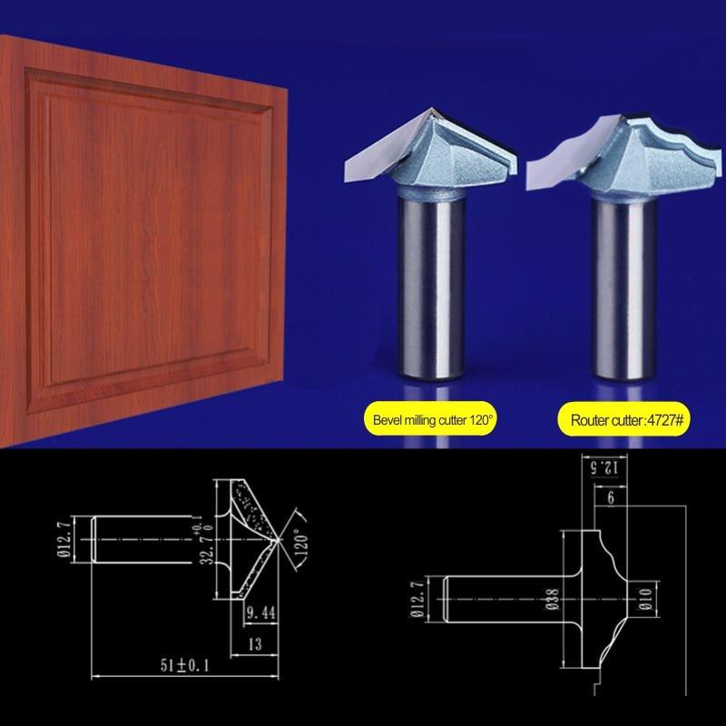 2pcs set 12 7 32 7mm Bevel milling cutter 12 7 38mm Door frame font b