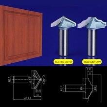 2pcs/set 12.7*32.7mm Bevel milling cutter+12.7*38mm Door frame knife Chest/Door wood flat edge trimmer milling cutter  4727