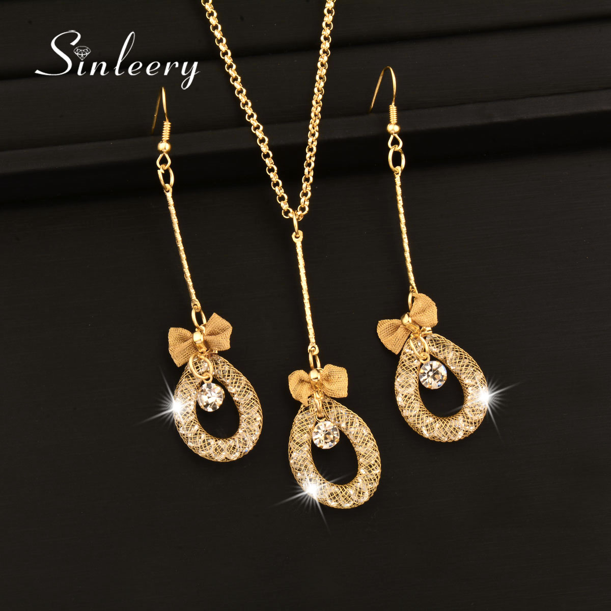 Sinleery Fashion Mesh Rhinestone Inside Necklace Earrings Set Gold Color  Africa Jewelry Sets For Women Wedding