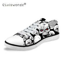 ELVISWORDS Skull Printing Men's Vulcanize Shoes Teenagers Punk Style Sneakers for Student Cool Canvas Shoes Lace-up Walking Shoe