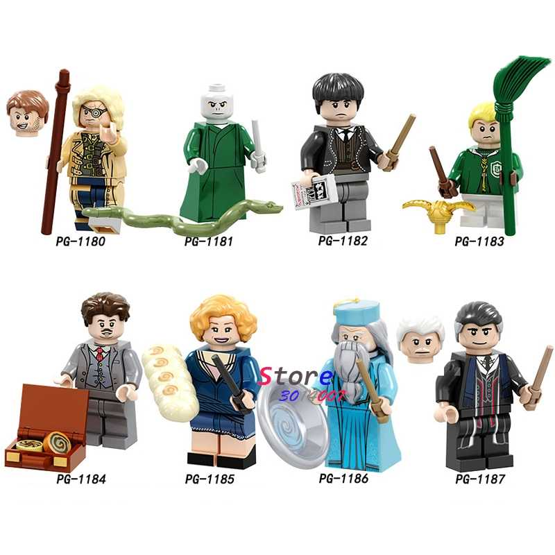 Single Building Blocks Figures Moody Voldemort Barebone Malfoy Kowalski Goldstein Collection toys for children