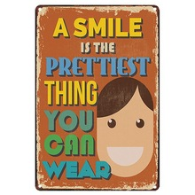 SMILE is PERFECT THING Modern Plaque Metal Decor Sign Painting Home Poster Vintage Wall Art Sticker Notice Photo Display 20x30cm reap 3102 shopia acrylic 297 120mm indoor horizontal wall mount sign holder display info poster elegant and modern door sign