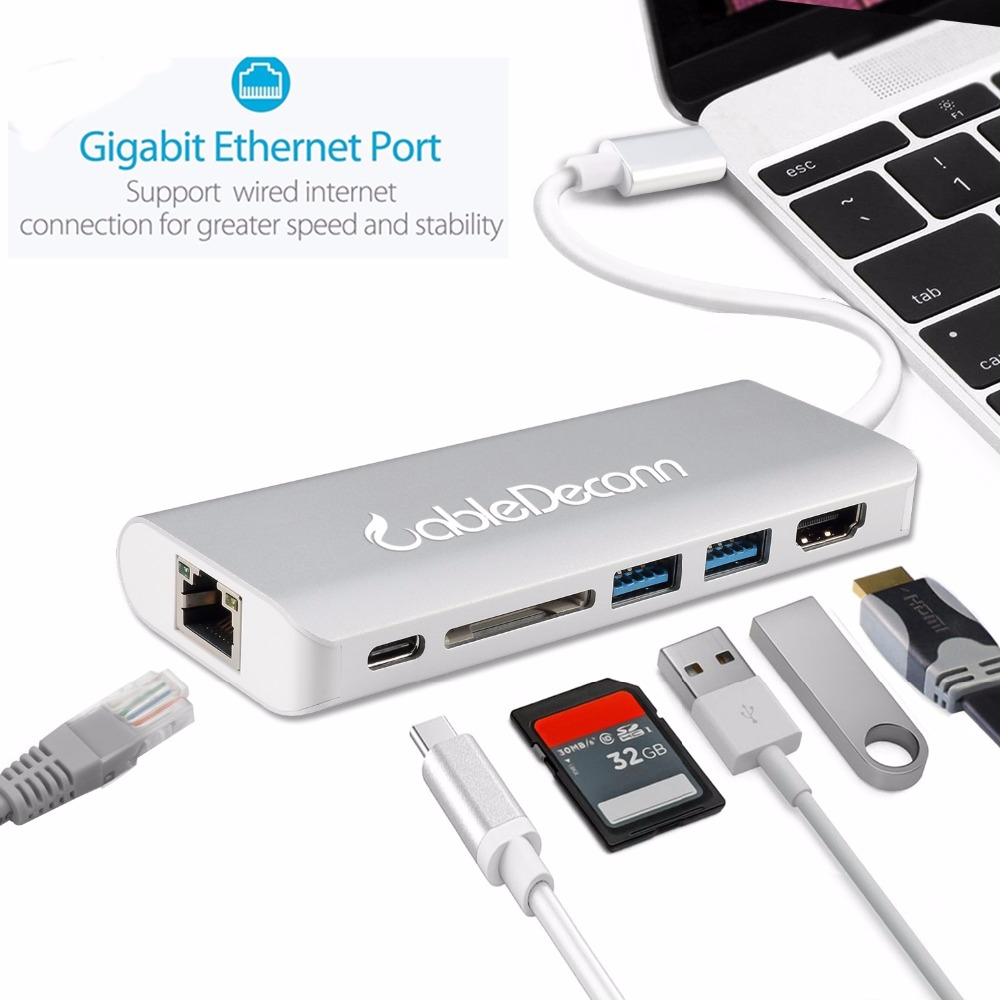 USB C Type C Thunderbolt 3 to HDMI 4K Gigabit Ethnernet RJ45 USB3.0 ...