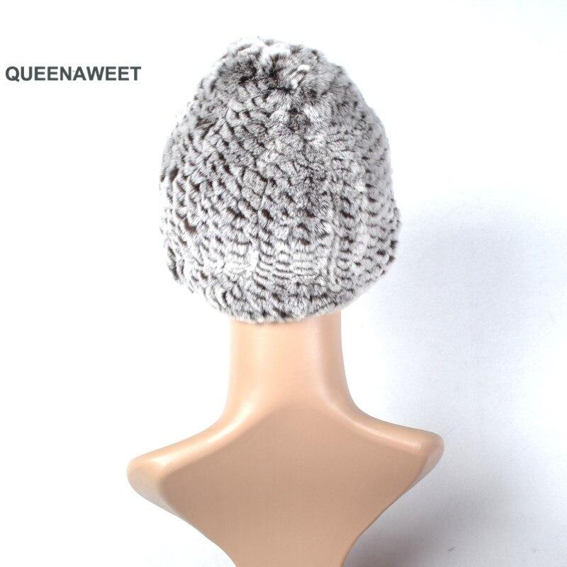 001 Winter fur hat for women real rex rabbit fur hat with fox fur pom poms fur knitted beanies