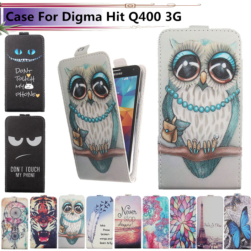 Fashion 11 Colors Cartoon Pattern Up and Down Flip PU Leather Case For Digma Hit Q400 3G