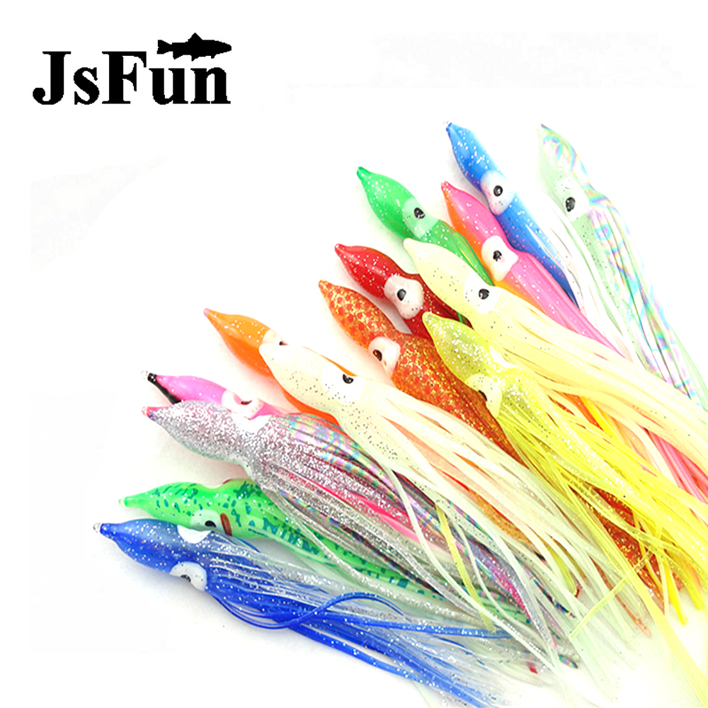 JSFUN Wholesale 50pcs/lot 15cm 7.25g Octopus Fishing <font><b>Lure</b></font> Squid Luminous <font><b>Lures</b></font> Glow Soft Bait Leurre Souple FU292