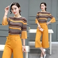 Europe and America 2017 new women's two-piece spring casual fashion striped shirt + wide leg pants 2 piece suit women