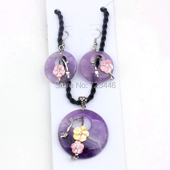 Amethyst Natural Stone Round Hollow Beautiful Shell Flower Dangle Earrings Pendant Sets Charms European Fashion Jewelry 1set