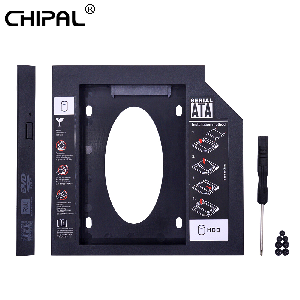 CHIPAL Universal Second 2nd HDD Caddy 12.7MM SATA 3.0 For 2.5'' SSD Case Hard Disk Drive Adapter For Laptop CD DVD-ROM Optibay