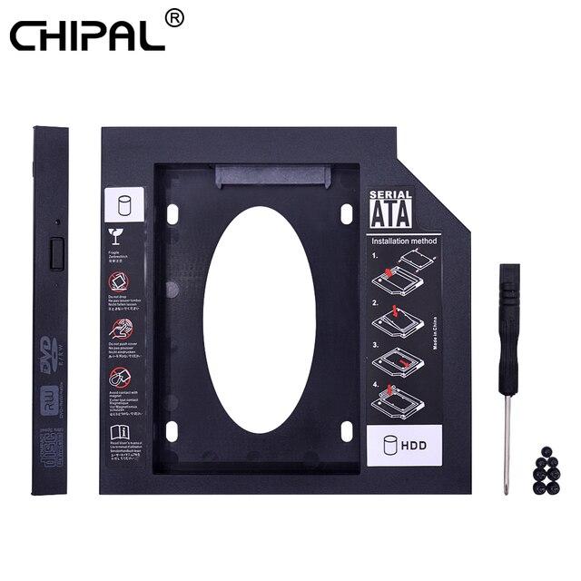 CHIPAL Universal segundo HDD Caddy 12,7 MM SATA 3,0 para 2,5 ''SSD carcasa adaptador de disco duro para ordenador portátil CD DVD-ROM óptico