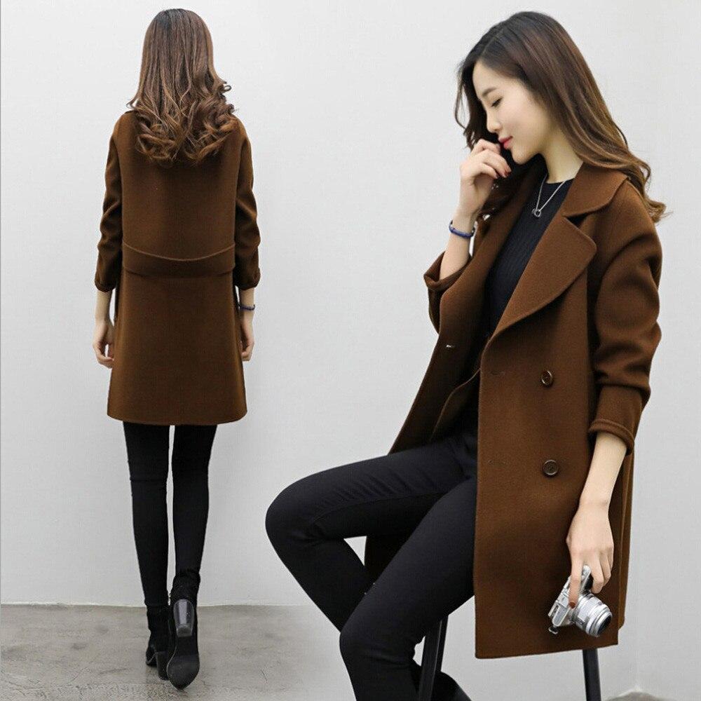 2019 Long Wool Coat Women Button Solid Button Woman Black Long Coats  Winter Warm Windproof Overcoats Fashion Female Blends