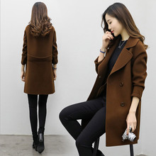 2019 Long Wool Coat Women Button Solid Button Woman Black Lo