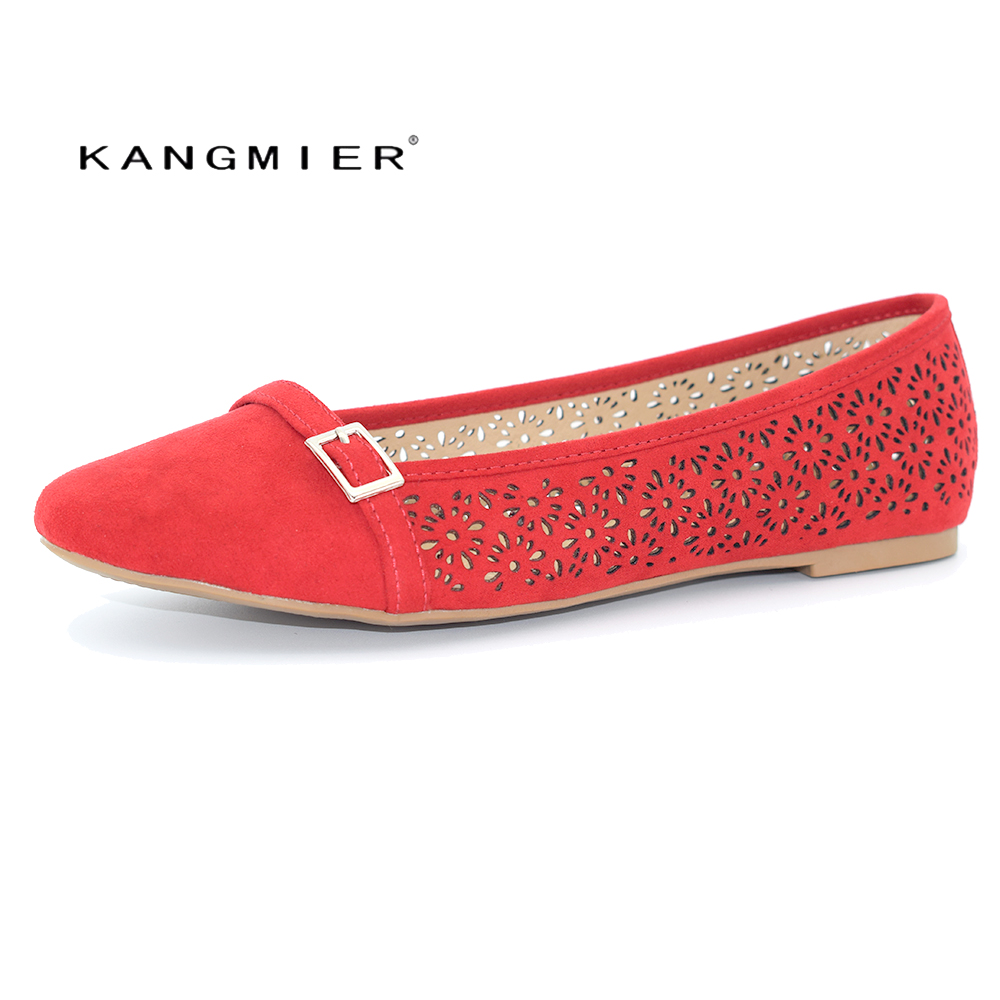 KANGMIER Flats shoes Women Ballet Flat Suede Round Toe Button Casual Shoes Lady Shoes Woman Flatie in Red Beige Spring Autumn meotina women flat shoes ankle strap flats pointed toe ballet shoes two piece ladies flats beading causal shoes beige size 34 43