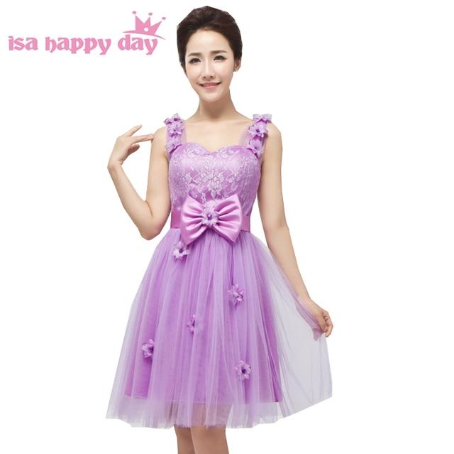 bcf4186e4cd cheap lilac modest sweetheart straps bridesmaid dress short formal corset  lace confirmation bridesmaids dresses under 50 H1580