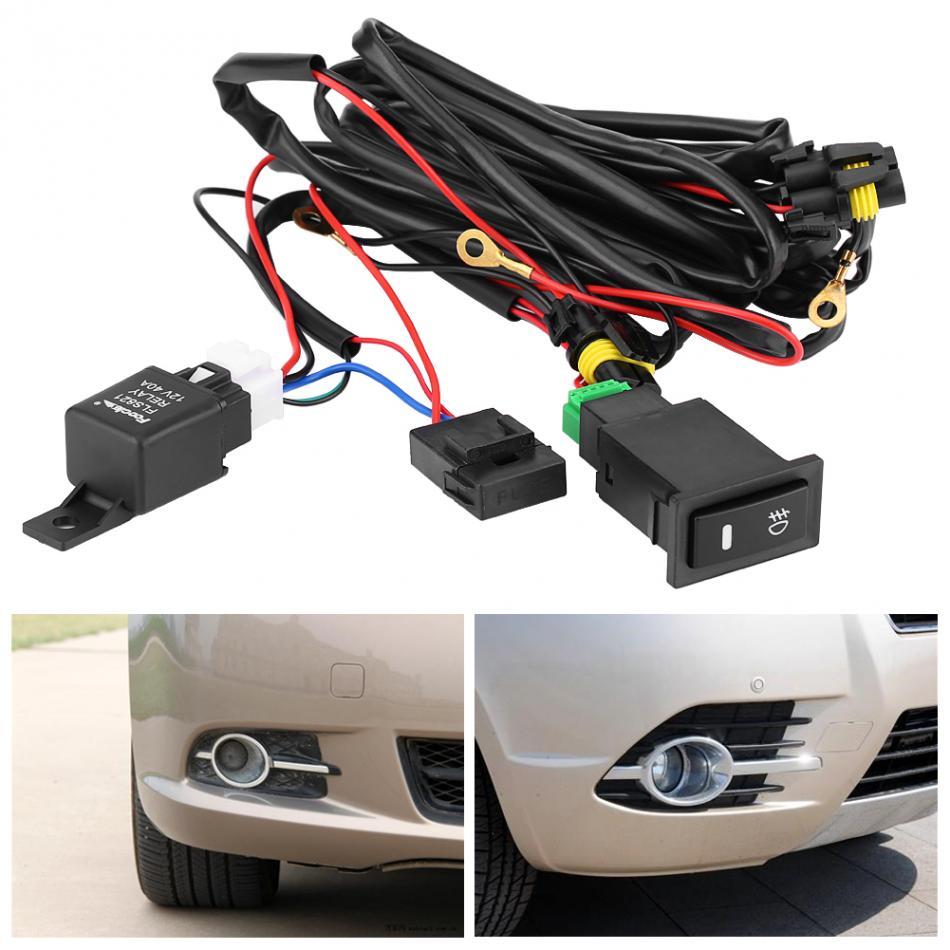 12V Car Fog Light Switch Wiring Kit LED Fog Light On/Off Switch Wiring  Harness