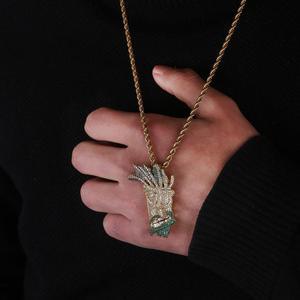 Image 5 - Ожерелье с подвеской Iced Out UKA, Мужская/Женская микро подвеска в стиле хип хоп золотого/серебряного цвета, блестящие брелоки, украшения, подарки