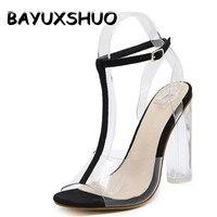 Bayuxshuo الكلاسيكية ر حزام الصنادل البرسبيكس العالي pvc واضح كريستال اللمحة تو عالية الجودة مثير أزياء أحذية الزفاف امرأة