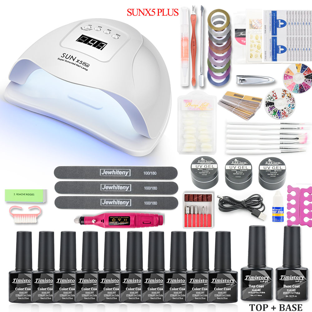 Nail Set 36W/80W Led UV Nail Lamp Dryer Gel Varnish Kit Soak Off Manicure Gel Nail Polish Set UV Extension Kit For Manicure