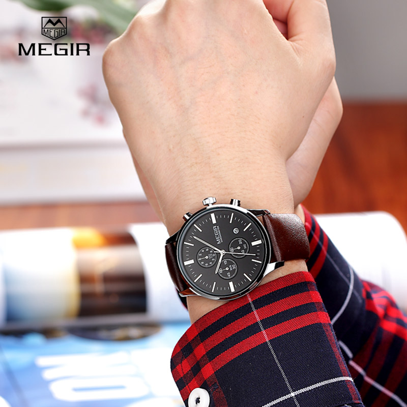 MEGIR hot mode lederen quartz horloge man lichtgevende chronograaf - Herenhorloges - Foto 4